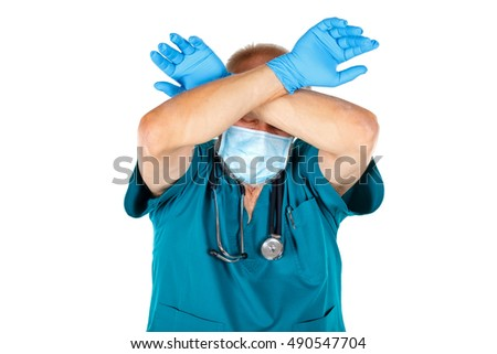 Picture of a tired surgeon after a long shift at the hospital