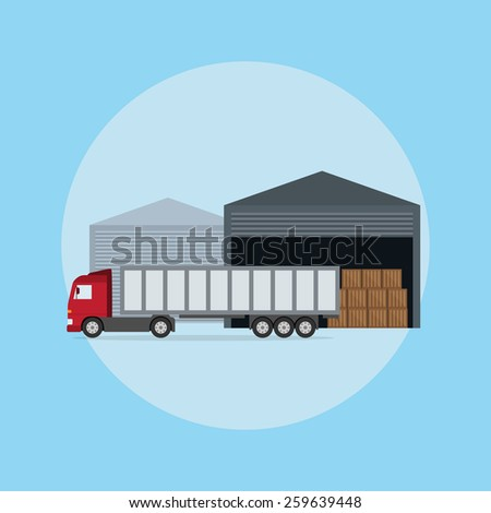 picture of a truck in front of the warehouse, flat style illustration - stock photo