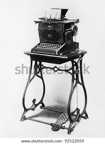 Picture of a typewriter on a stand - stock photo