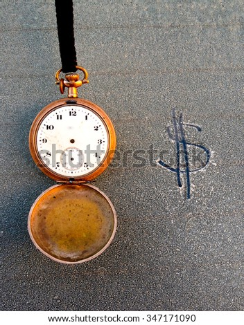 picture of a Vintage pocket clock and text on frost car window - stock photo