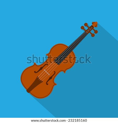 picture of a violin on blue background, flat style illustration - stock photo