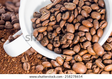 Picture of a white cup filled with coffee beans