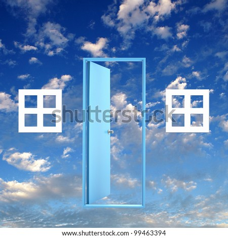 Picture of a white door against blue sky background - stock photo