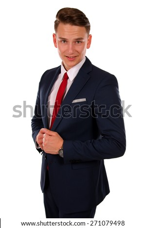 Picture of a young  businessman standing in front of an isolated background