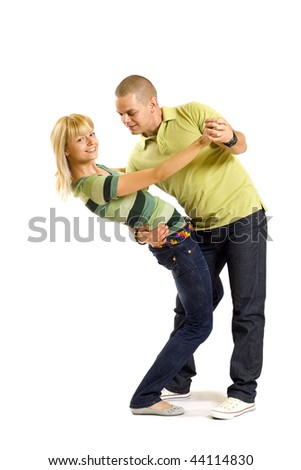 picture of a young couple dancing over white background