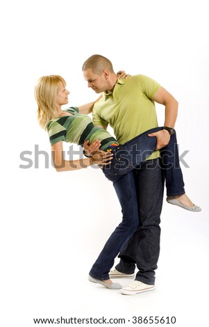 picture of a young couple in a dance position over white