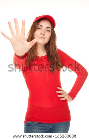 Picture of a young woman in red blouse showing her five fingers - stock photo