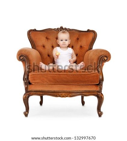 picture of adorable baby with big lollipop - stock photo