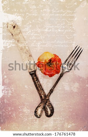 picture of an apple core with antique cutlery processed with a vintage style texture