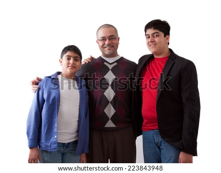 Picture of an East Indian father with his two sons