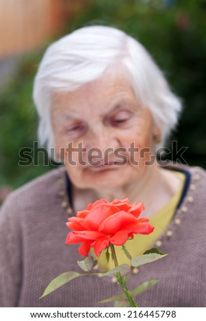 Picture of an elderly woman holding a red flower - stock photo