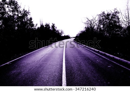 Picture of an empty asphalt purple road.  - stock photo
