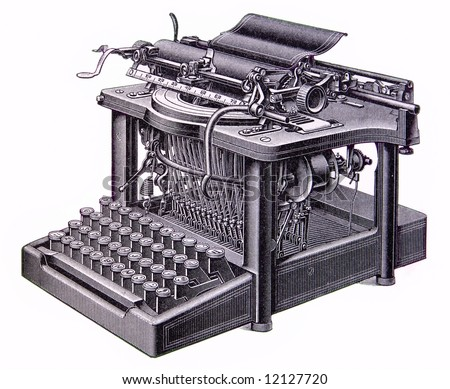 picture of an old typewriter isolated - stock photo