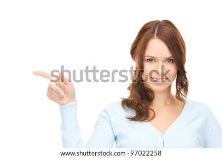 picture of attractive businesswoman pointing her finger. - stock photo