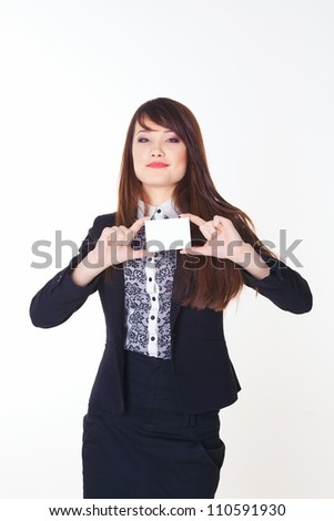 picture of attractive businesswoman with business card - stock photo