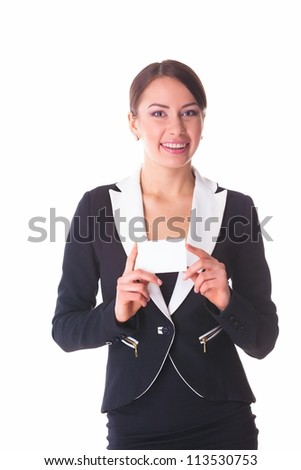 picture of attractive businesswoman with business card