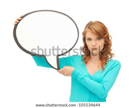 picture of attractive teenage girl with blank text bubble - stock photo