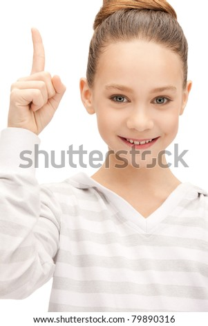 picture of attractive teenage girl with her finger up