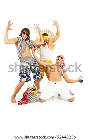 Picture of attractive young celebrating guys. Isolated over white - stock photo
