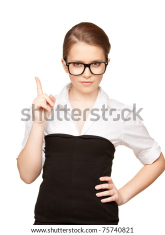 picture of attractive young woman with her finger up - stock photo