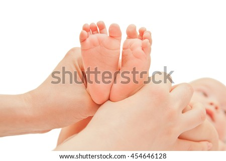 Picture of baby footstep with moms hands isolted on white