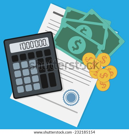 picture of banknotes, coins, calculator and document on blue background, business, earnings, savings, investment and making money concept - stock photo
