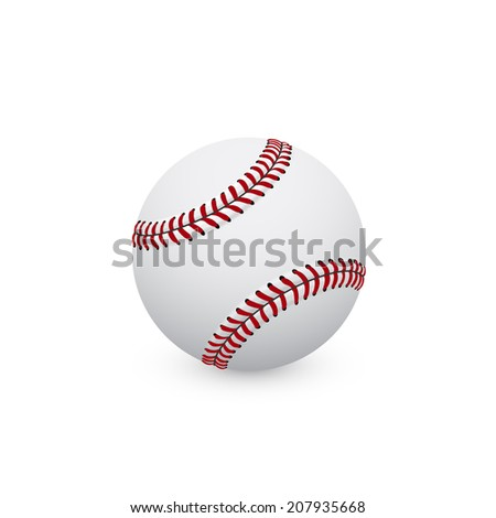 picture of baseball ball on white background - stock photo