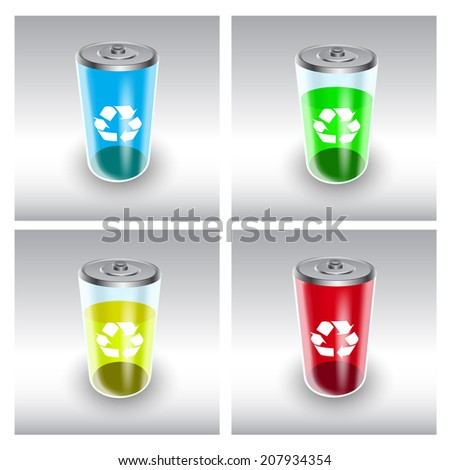 Picture of battery charged with renewable energy - stock photo