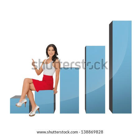 picture of beautiful businesswoman sitting on big 3d chart
