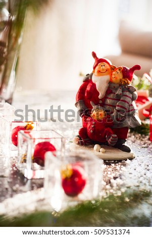 Picture of beautiful christmas interior decor. X-mas or New Year concept. Toy couple.