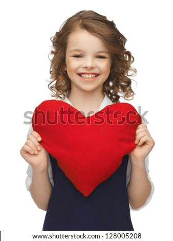 picture of beautiful girl with big heart - stock photo