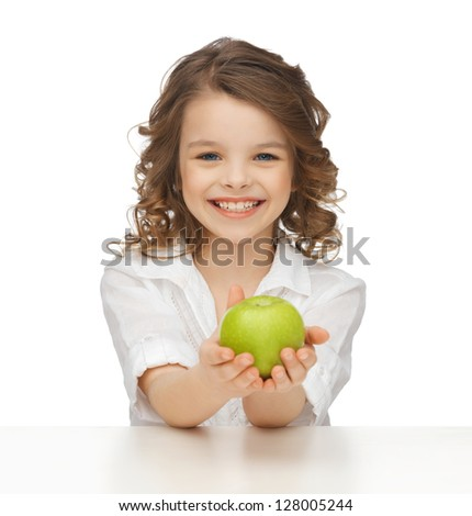 picture of beautiful girl with green apple - stock photo