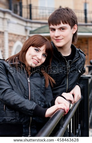 Picture of beautiful happy man and woman outdoors - stock photo