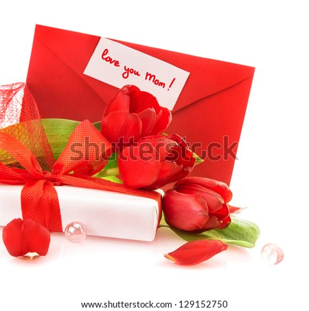 Picture of beautiful red tulip bouquet and white gift box for mother isolated on white background, greeting postcard, love you mom, mothers day, spring season, surprise for holiday, love concept - stock photo