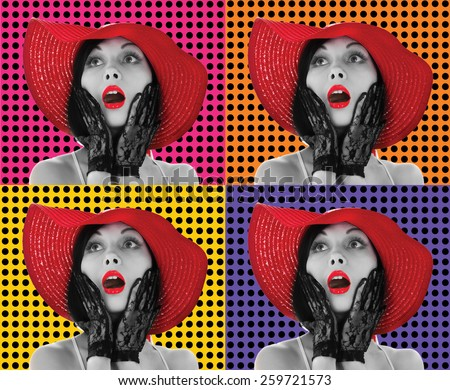 Picture of beautiful retro-styled woman in red hat on different background
