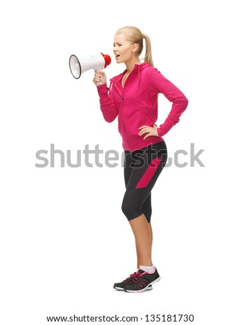 picture of beautiful sporty woman with megaphone
