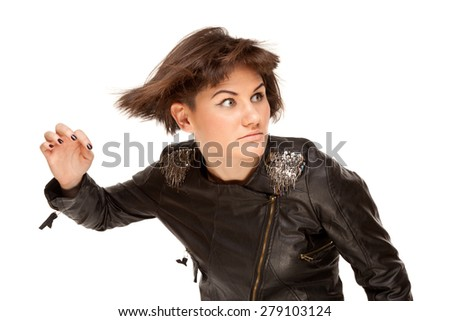Picture of beautiful stylish woman with fluttering hair isolated on white - stock photo