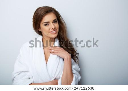 picture of beautiful woman beautiful woman in spa salon - stock photo