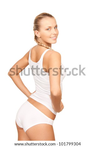 picture of beautiful woman in cotton undrewear
