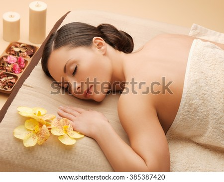picture of beautiful woman in spa salon - stock photo