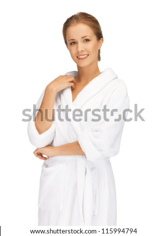 picture of beautiful woman in white bathrobe - stock photo