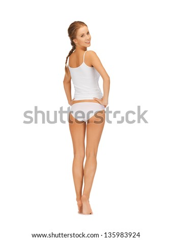 picture of beautiful woman in white cotton underwear - stock photo