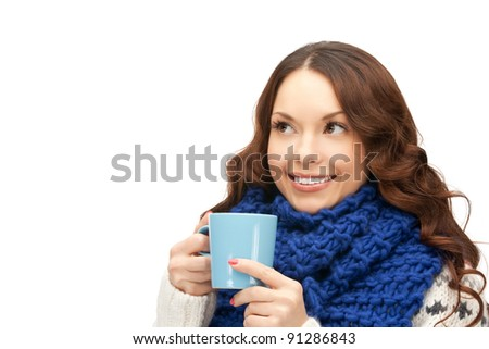 picture of beautiful woman with blue mug