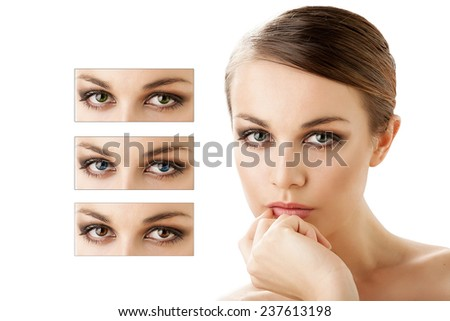 picture of beautiful woman with different color of eyes - stock photo