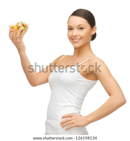 picture of beautiful woman with fruit coctail - stock photo