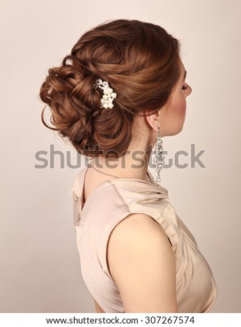 Picture of beautiful woman with gorgeous hairstyle - stock photo
