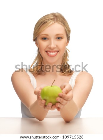 picture of beautiful woman with green apple.