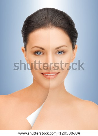 picture of beautiful woman with half face tanned - stock photo