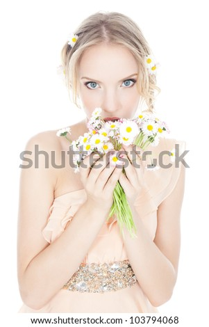 Picture of beautiful young blonde woman in pink dress with colorful  flowers over white - stock photo