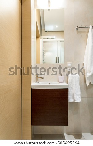Picture of beige and brown bathroom design